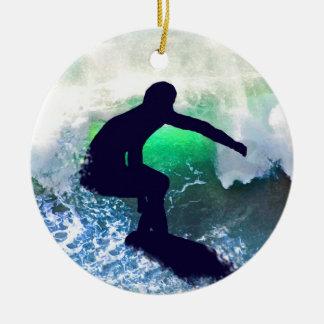 Surfer in Big Wave Ceramic Ornament