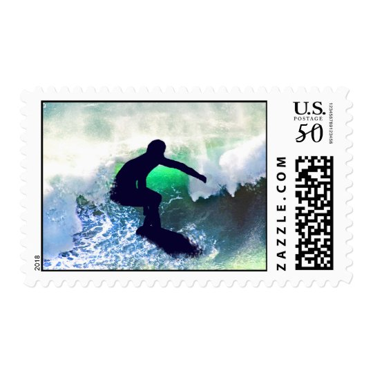 Surfer in Big Wave Postage