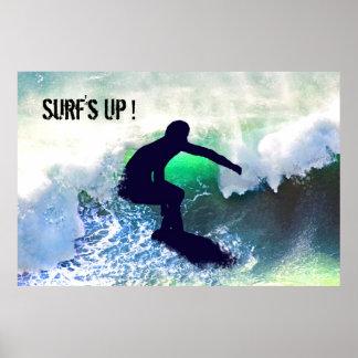 Surfer in Big Wave Poster