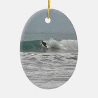Surfer in Cambria, California Christmas Ornament