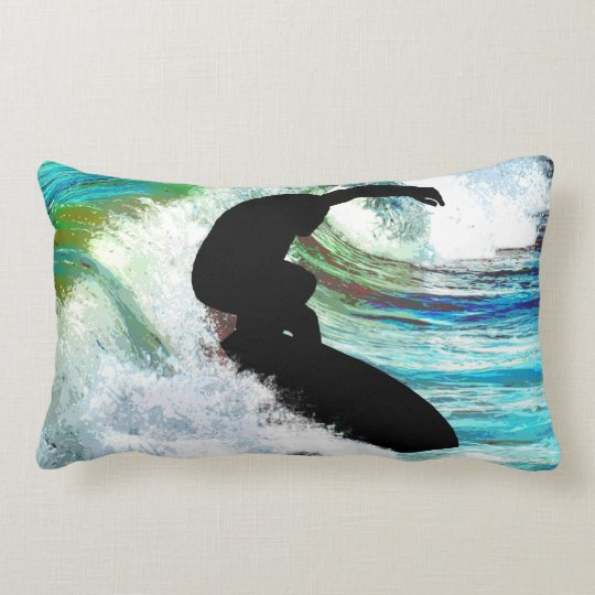 Surfer in Curling Wave Lumbar Pillow