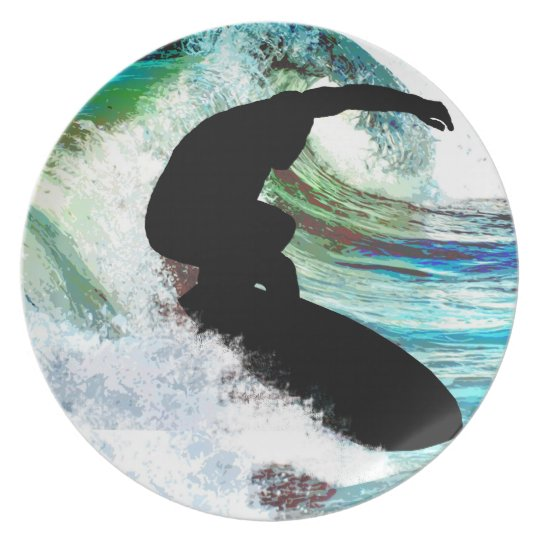 Surfer in Curling Wave Melamine Plate