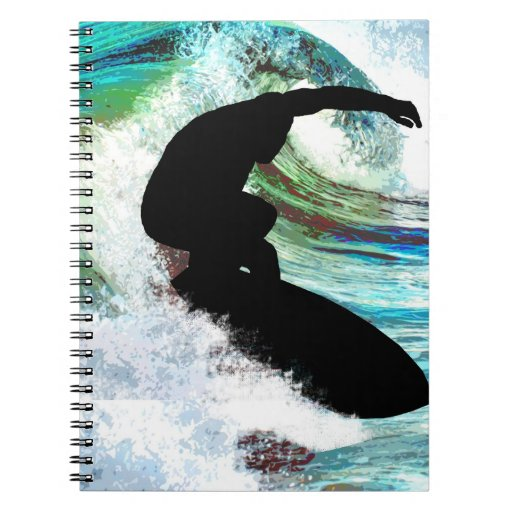 Surfer in Curling Wave Notebook