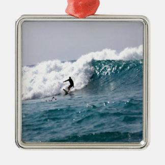 Surfer in Giant Hawaiian Wave Metal Ornament