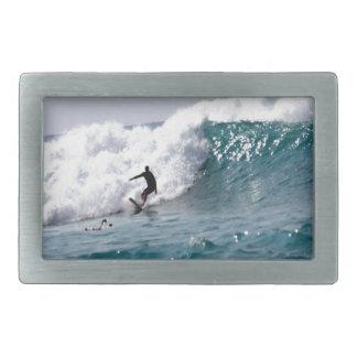 Surfer in Giant Hawaiian Wave Rectangular Belt Buckle