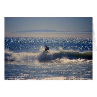 Surfer in Huntington Beach, California, Greeting C Card