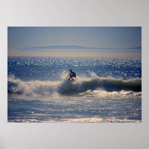 Surfer in Huntington Beach, California Posters