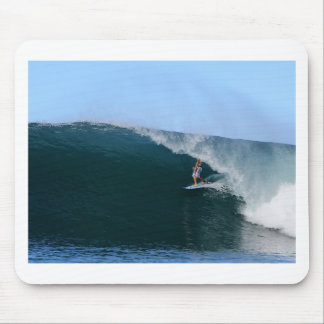 Surfer in the tube blue tropical surfing wave mouse pad