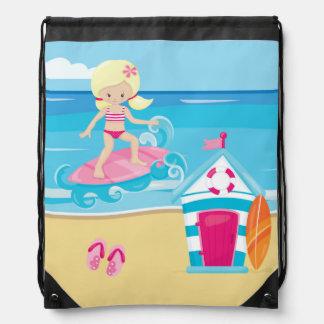 Surfer kids drawstring bag