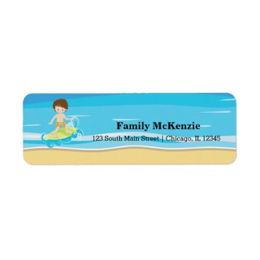 Beach Themed Surfer kids label