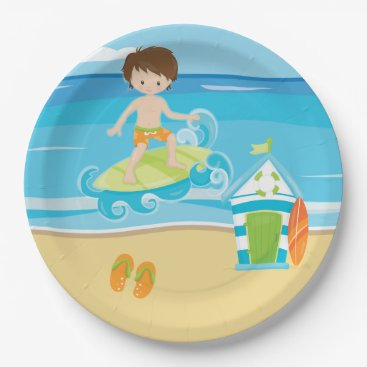 Beach Themed Surfer kids paper plate
