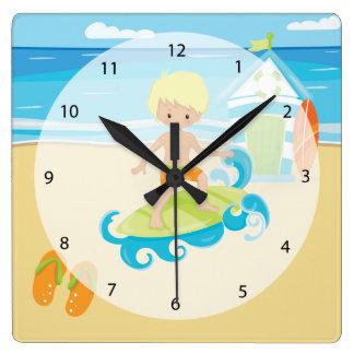 Surfer Kids Square Wall Clock