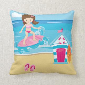 Surfer kids throw pillow