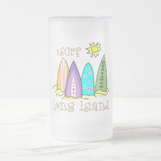 Surfer Long Island Gear Frosted Glass Beer Mug