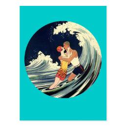 Surfer Lovers Kissing Vintage Illustration Postcard
