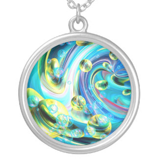 Surfer Medallion Silver Plated Necklace