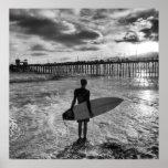 Surfer near Oceanside Pier Poster