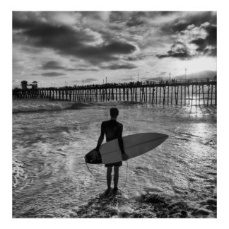 Surfer near Oceanside Pier Poster
