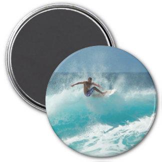 Surfer on a big wave 3 inch round magnet