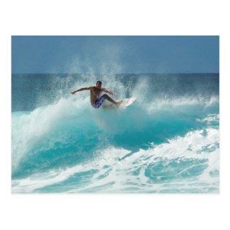 Surfer on a big wave postcard