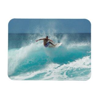 Surfer on a big wave rectangle magnet