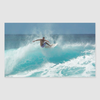Surfer on a big wave rectangle sticker