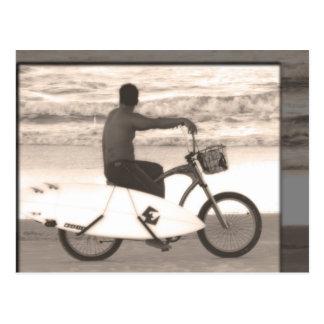 Surfer on Bike Postcard