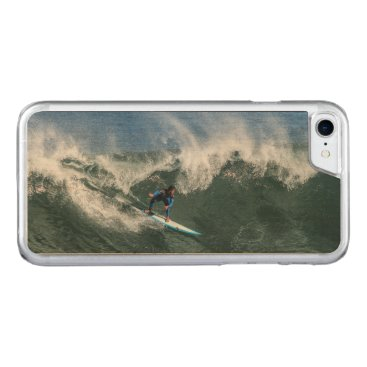 Beach Themed Surfer on Blue and White Surfboard Carved iPhone 7 Case