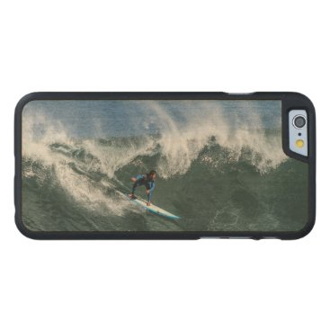 Beach Themed Surfer on Blue and White Surfboard Carved® Maple iPhone 6 Case