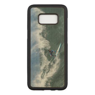Beach Themed Surfer on Blue and White Surfboard Carved Samsung Galaxy S8 Case