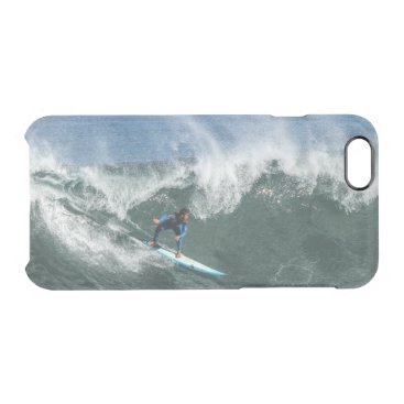 Beach Themed Surfer on Blue and White Surfboard Clear iPhone 6/6S Case