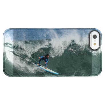 Beach Themed Surfer on Blue and White Surfboard Clear iPhone SE/5/5s Case