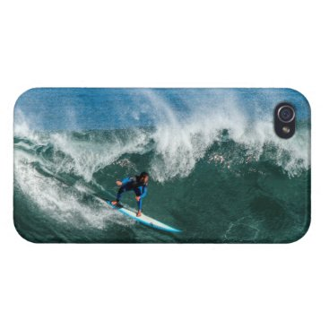 Beach Themed Surfer on Blue and White Surfboard Cover For iPhone 4