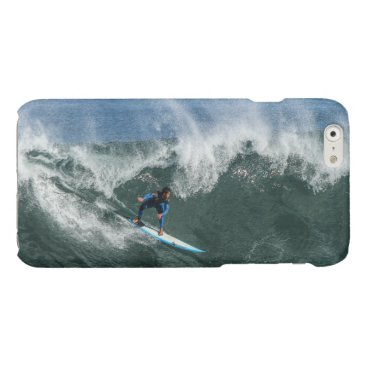 Beach Themed Surfer on Blue and White Surfboard Glossy iPhone 6 Case