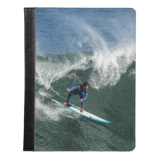 Surfer on Blue and White Surfboard iPad Case