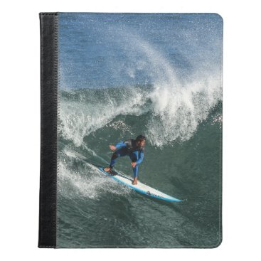Beach Themed Surfer on Blue and White Surfboard iPad Case