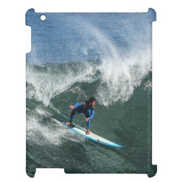 Beach Themed Surfer on Blue and White Surfboard iPad Cover