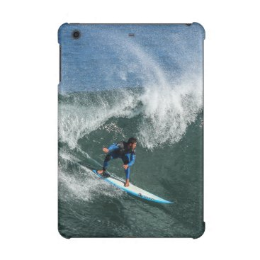 Beach Themed Surfer on Blue and White Surfboard iPad Mini Case