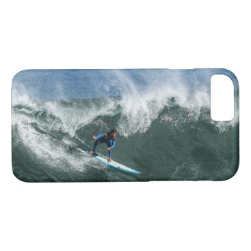Surfer on Blue and White Surfboard iPhone 7 Case