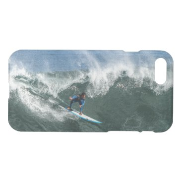 Beach Themed Surfer on Blue and White Surfboard iPhone 7 Case