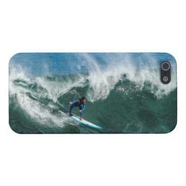 Beach Themed Surfer on Blue and White Surfboard iPhone SE/5/5s Cover