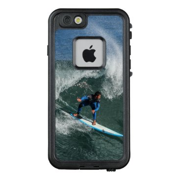 Beach Themed Surfer on Blue and White Surfboard LifeProof FRĒ iPhone 6/6s Case