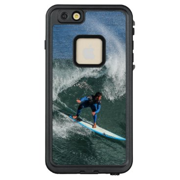 Beach Themed Surfer on Blue and White Surfboard LifeProof FRĒ iPhone 6/6s Plus Case