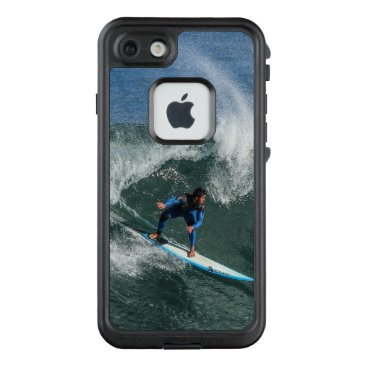 Beach Themed Surfer on Blue and White Surfboard LifeProof FRĒ iPhone 7 Case