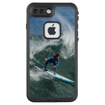 Beach Themed Surfer on Blue and White Surfboard LifeProof FRĒ iPhone 7 Plus Case