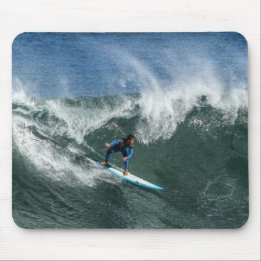 Beach Themed Surfer on Blue and White Surfboard Mouse Pad