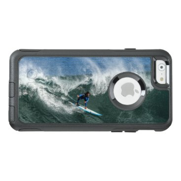 Beach Themed Surfer on Blue and White Surfboard OtterBox iPhone 6/6s Case