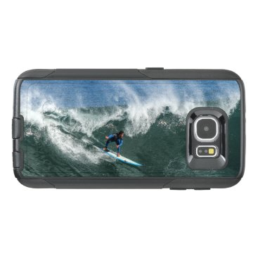 Beach Themed Surfer on Blue and White Surfboard OtterBox Samsung Galaxy S6 Case