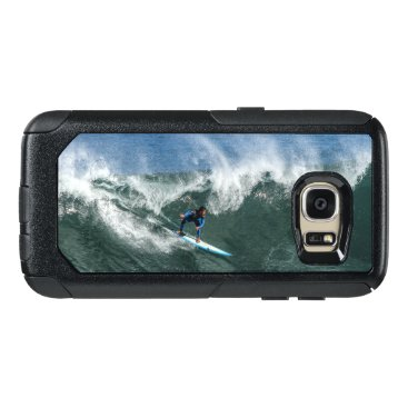 Beach Themed Surfer on Blue and White Surfboard OtterBox Samsung Galaxy S7 Case