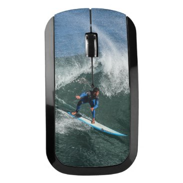 Beach Themed Surfer on Blue and White Surfboard Wireless Mouse